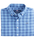 Boys Bayville Check Cotton/Linen Whale Shirt