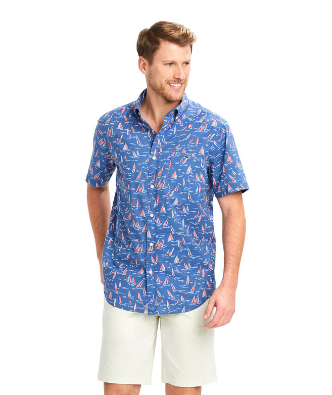 Classic Fit Mini Sailing Crew Tucker Short-Sleeve Button-Down Shirt