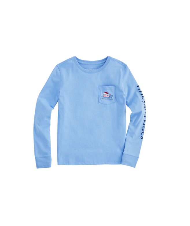 Girls Surfboard Christmas Whale Long-Sleeve Pocket Tee