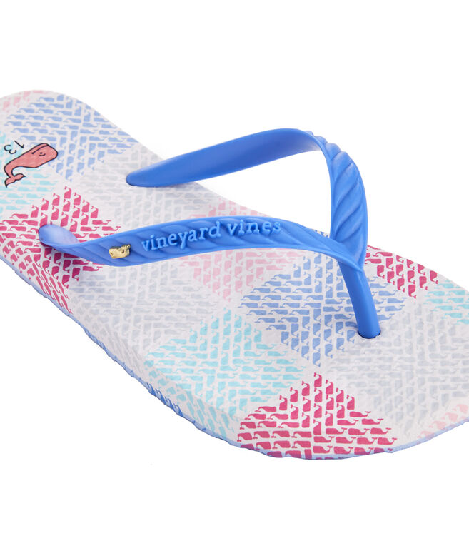 Girls Whale Patchwork Printed Flip Flops