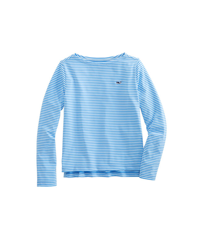 Girls Long-Sleeve Boatneck Sankaty Stripe Simple Tee