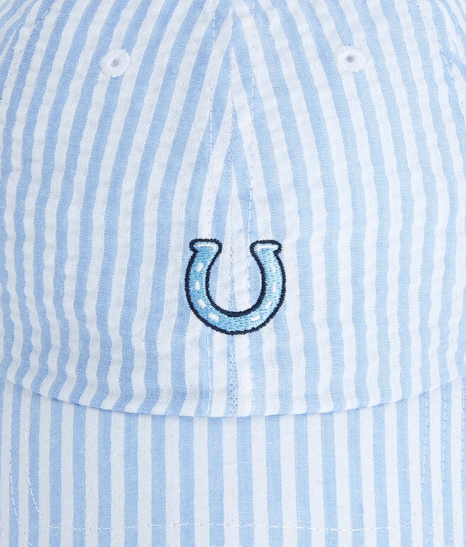 Horseshoe Icon Embroided Seersucker Baseball Hat
