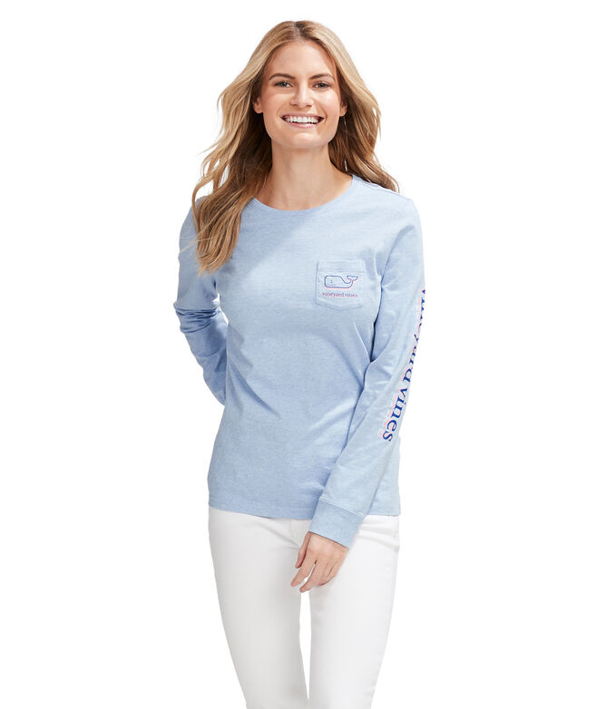Stacked Whale Long-Sleeve Pocket Tee