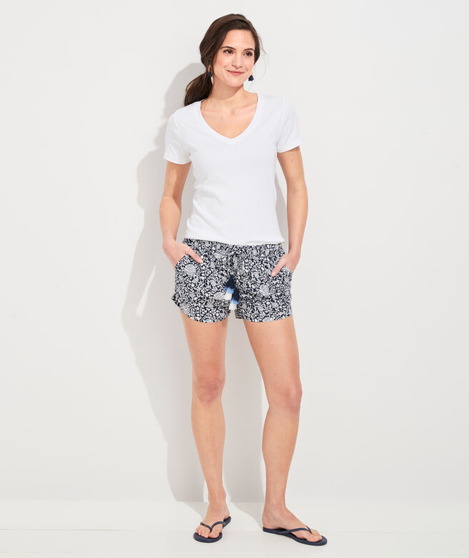 Vine Floral Pull-On Shorts