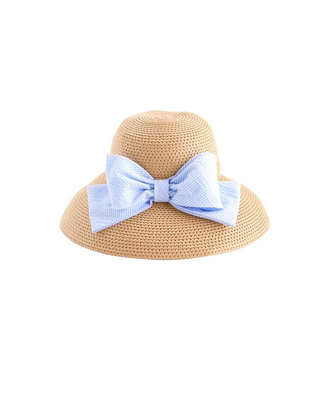 Straw Seersucker Bow Hat
