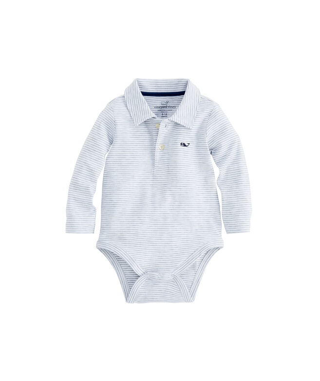 Baby Long-Sleeve Stripe Jersey Polo One-Piece