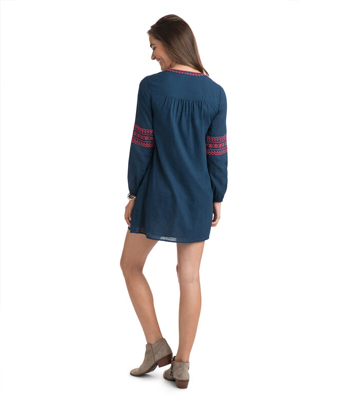 Embroidered Pintuck Dress
