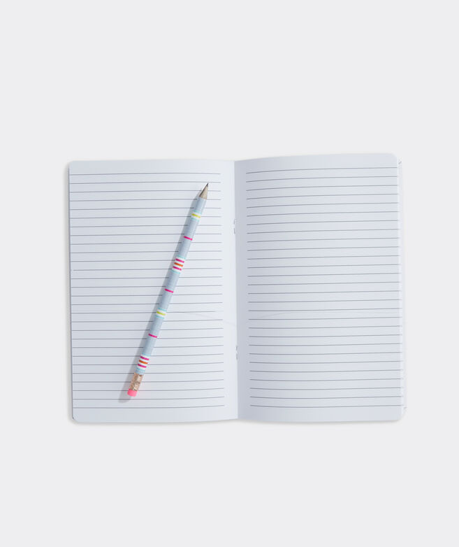 Beachy Stripe Notebook and Pencils Set