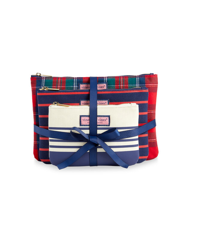 Merry Plaid 3-Piece Pouch Set