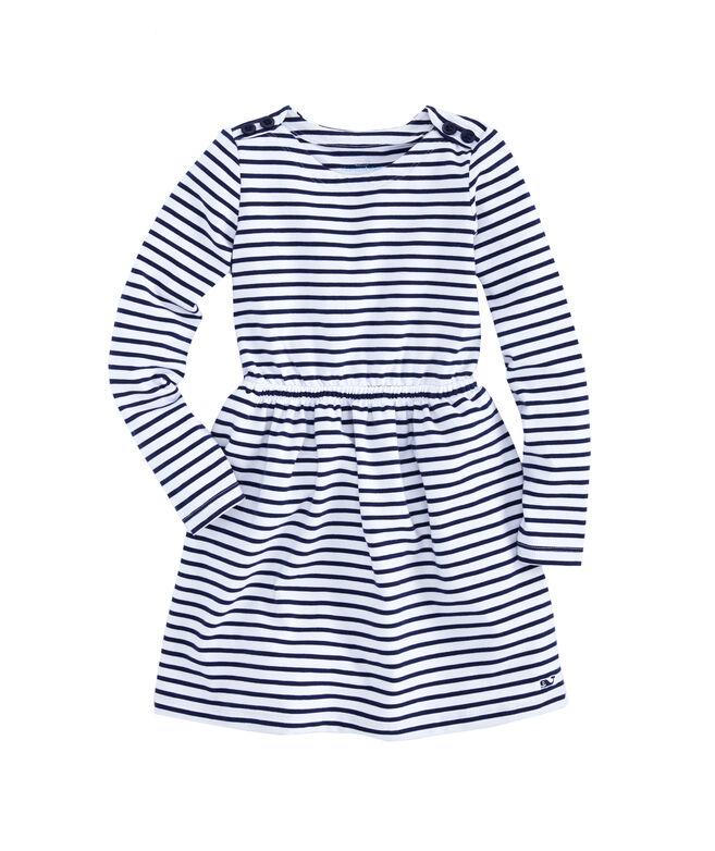 Girls Stripe Knit Waisted Dress