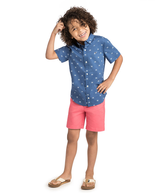 Boys Short-Sleeve Crossed Fish Bones Whale Shirt