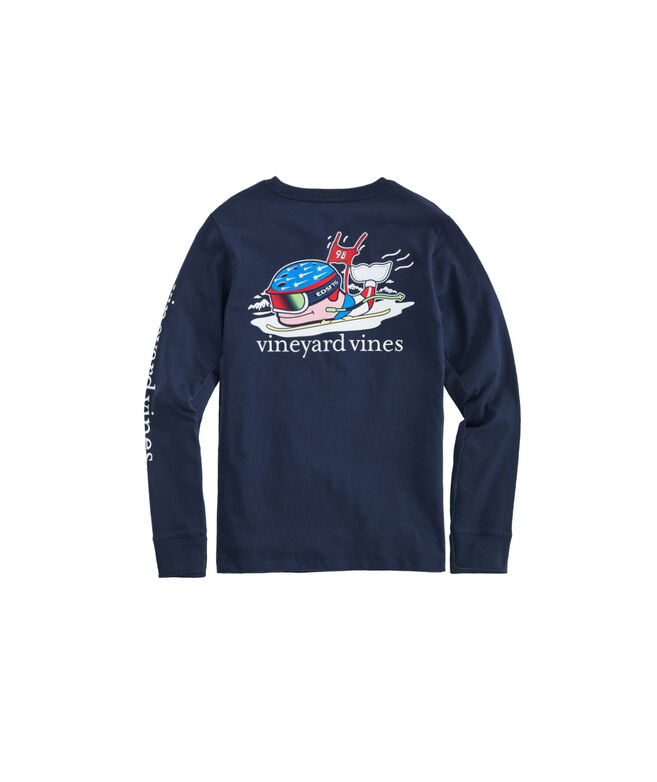 Kids' Ski Race Whale Long-Sleeve Pocket Tee