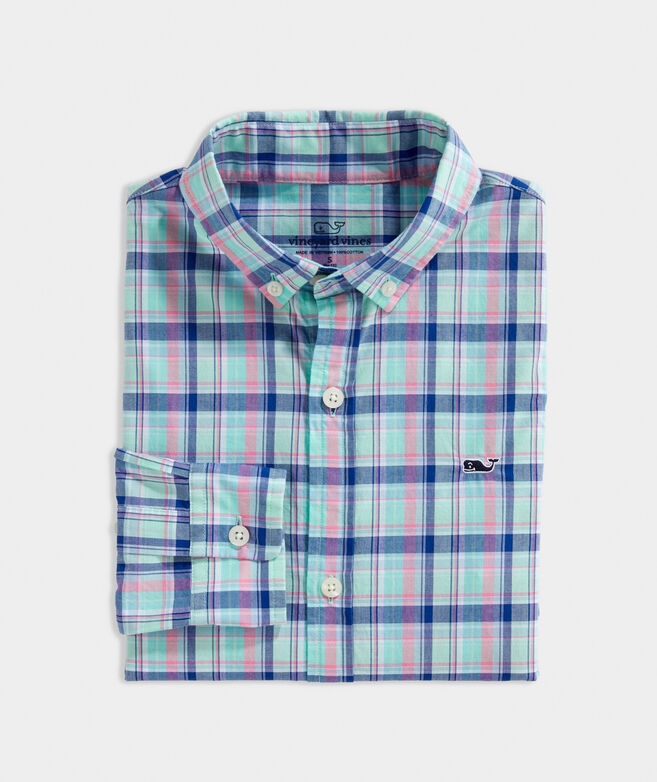 Boys' Williams Plaid Whale Button-Down Shirt