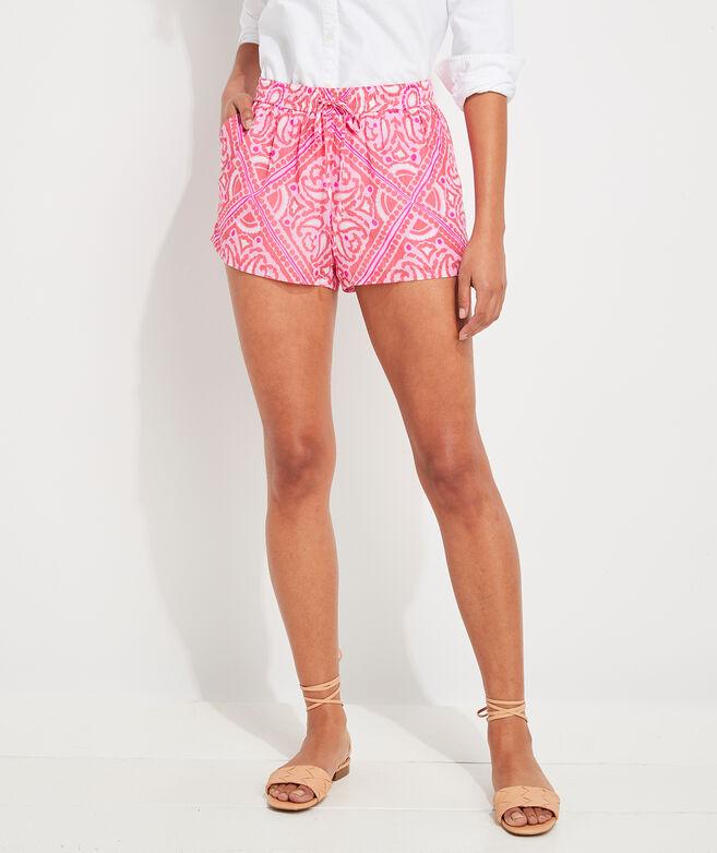 Island Scarf Print Pull-On Shorts