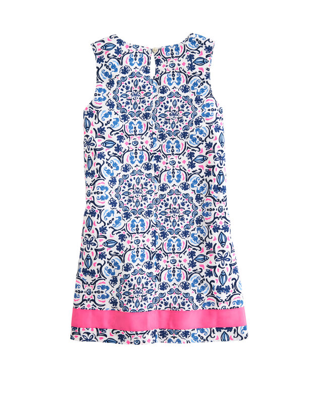 OUTLET Girls' Seahorse Medallion Print Ribbon Shift Dress