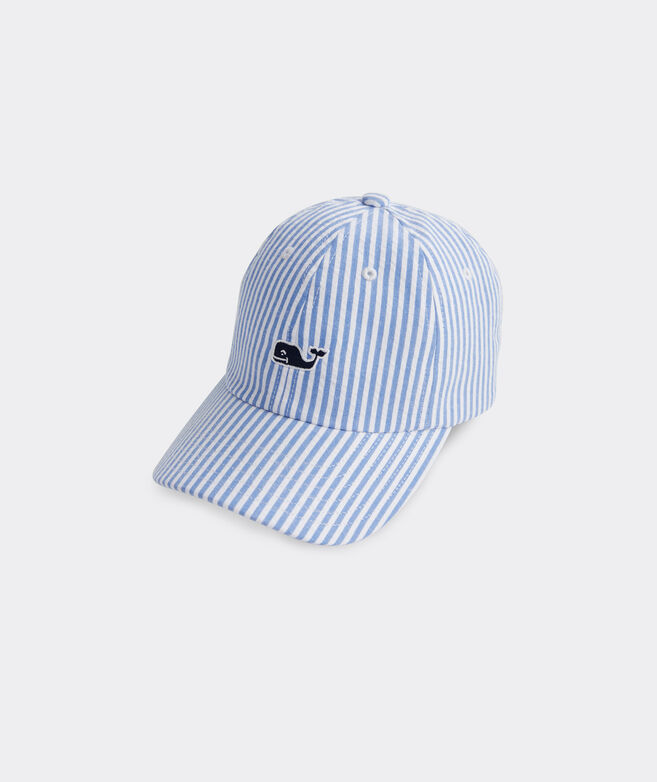 Boys' Seersucker Whale Logo Baseball Hat