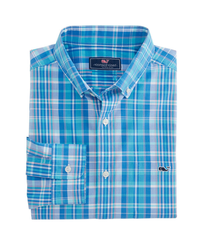 OUTLET Men's Gibbs Hill Plaid Poplin Classic Whale Shirt