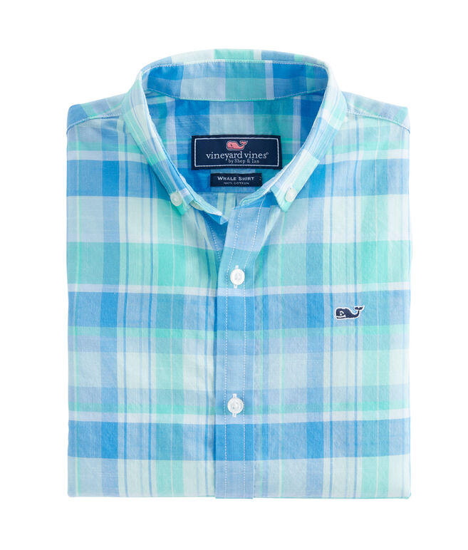 Boys Homer Pond Plaid Beach Tartan Whale Shirt