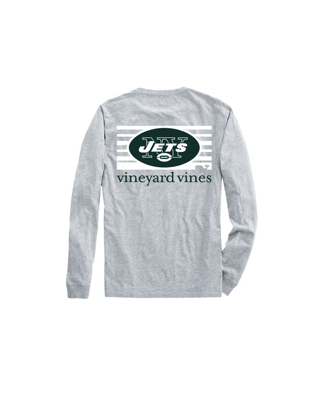 Adult Jets Long-Sleeve Block Stripe T-Shirt