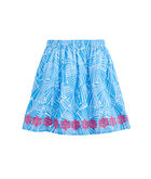 Girls Abstract Palm Embroidered Skirt