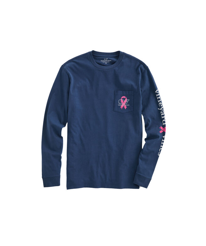 2019 Breast Cancer Awareness Ribbons Long-Sleeve Pocket T-Shirt