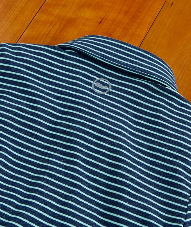 Boys Carmel Open Stripe Heather Polo