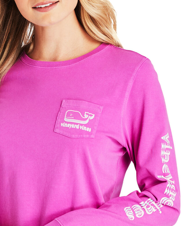 Long-Sleeve Stacked Whale Pocket Tee
