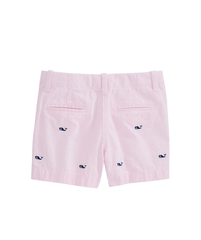 Girls Whale Embroidered Seersucker Every Day Shorts