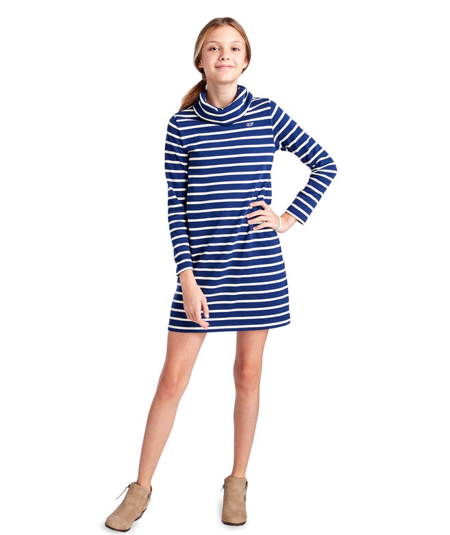 Girls Funnel Neck Stripe Knit Dress (Big Girl)