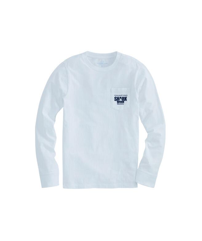Boys Long-Sleeve Shark Week Circling Flag Surfboard Pocket T-Shirt
