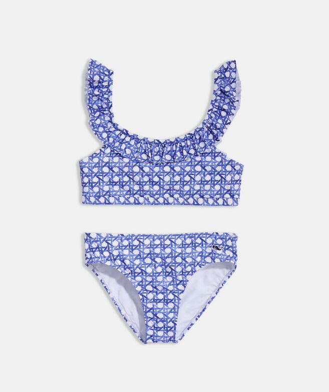 Girls' Painted Rattan Ruffle Bikini