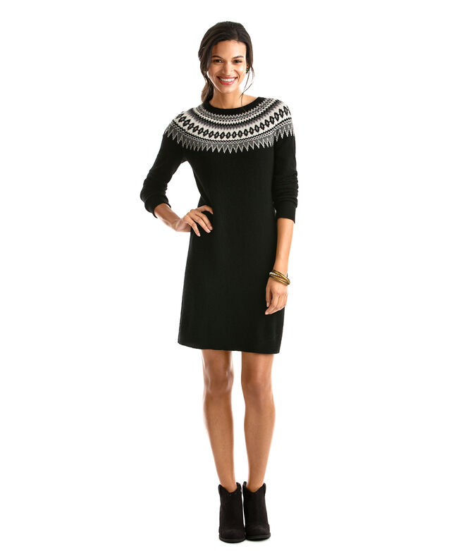 Women'S Fair Isle Sweater Dresses - Cardigan With Buttons