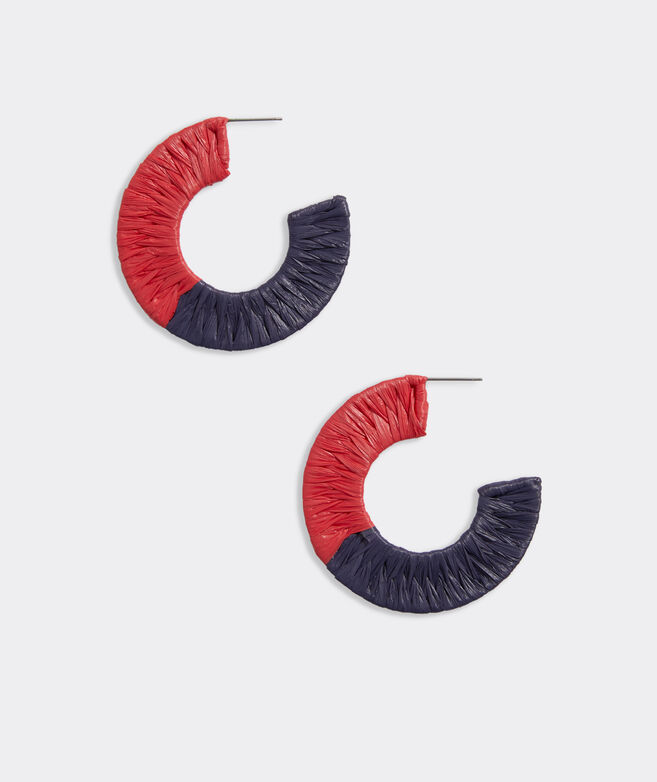 Raffia Weave Hoop Earrings