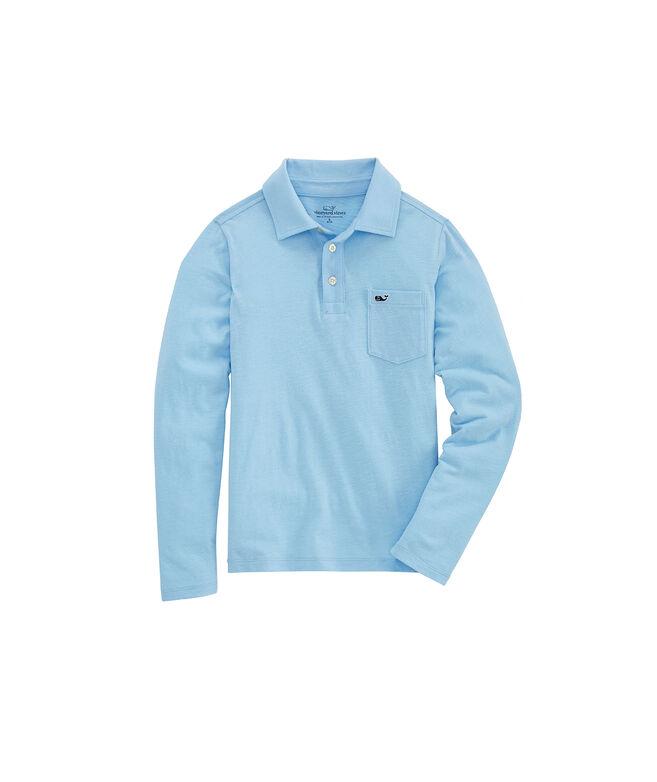 Boys' Slub Knit Long-Sleeve Polo