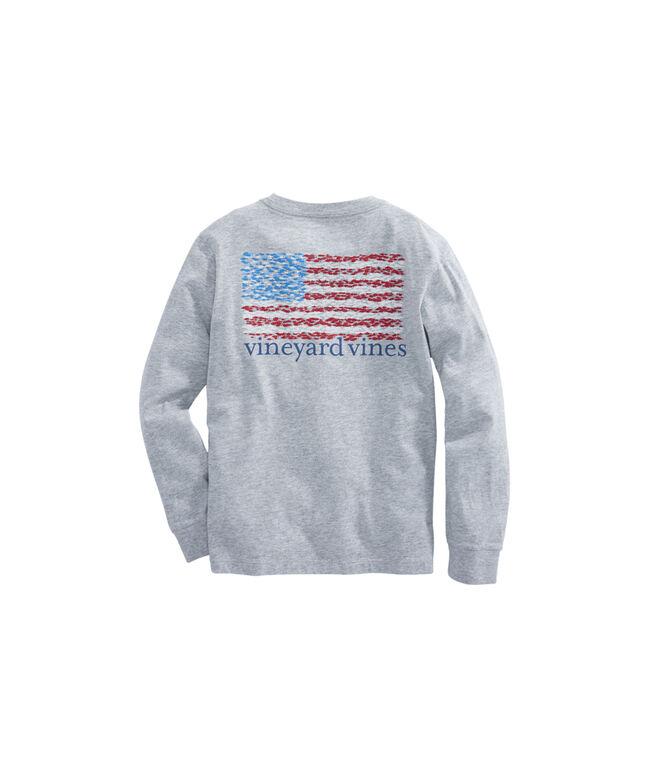 Boys Long-Sleeve School Of Fish Flag Pocket T-Shirt