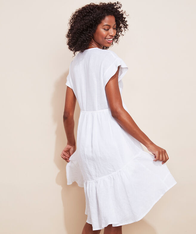 Tiered Linen Swing Dress