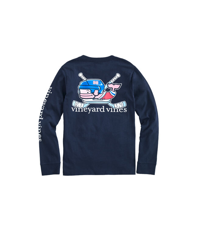 Kids' Crossed Hockey Sticks Whale Long-Sleeve Pocket Tee