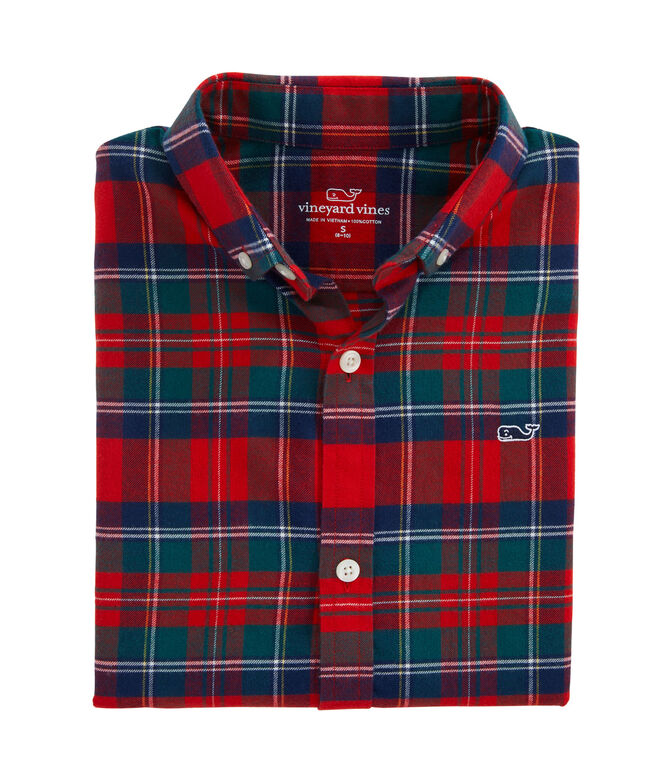 Boys Merry Plaid Whale Button-Down Flannel Shirt