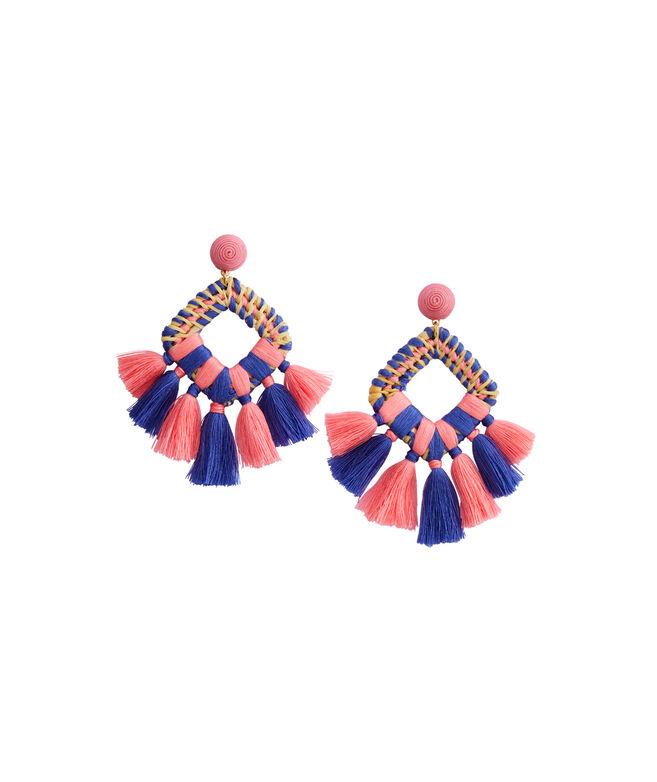Square Basket Weave Tassel Earrings