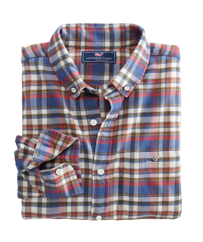 OUTLET Classic Fit Firewood Plaid Stretch Flannel Whale Shirt