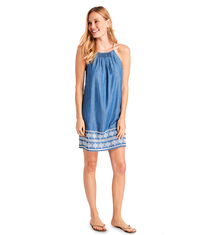 Shoreline Embroidered Chambray Pintuck Dress