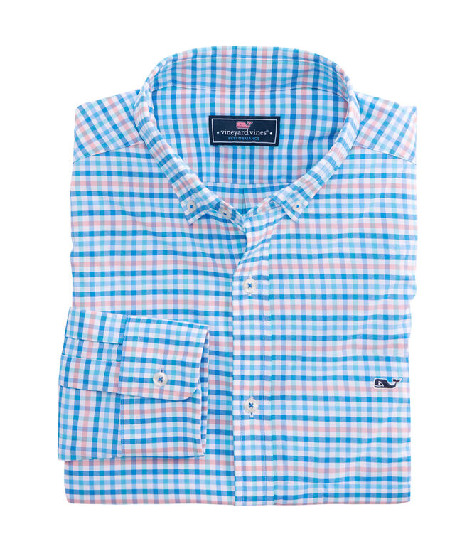 OUTLET Men's Slim Fit Coco Bay Check Performance Whale Shirt