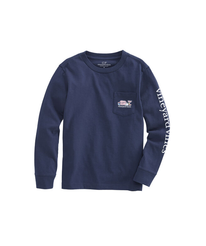 Boys Long-Sleeve Back To School Whale Pocket T-Shirt