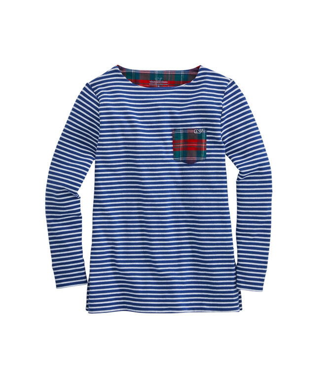 Girls Striped Sweatshirt Tunic With Merry Plaid Pocket