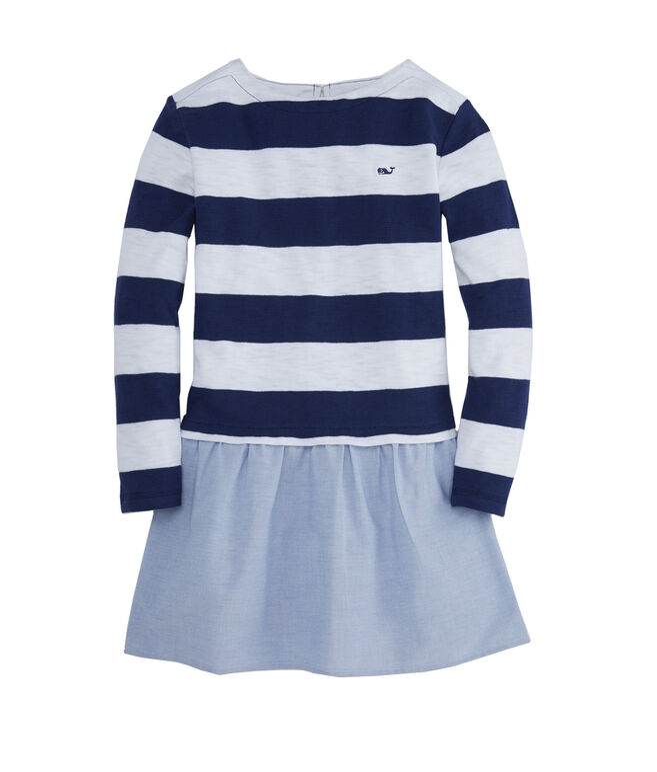 Girls Striped Oxford Sweatshirt Dress