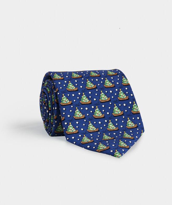 Tree & Boat Printed Tie