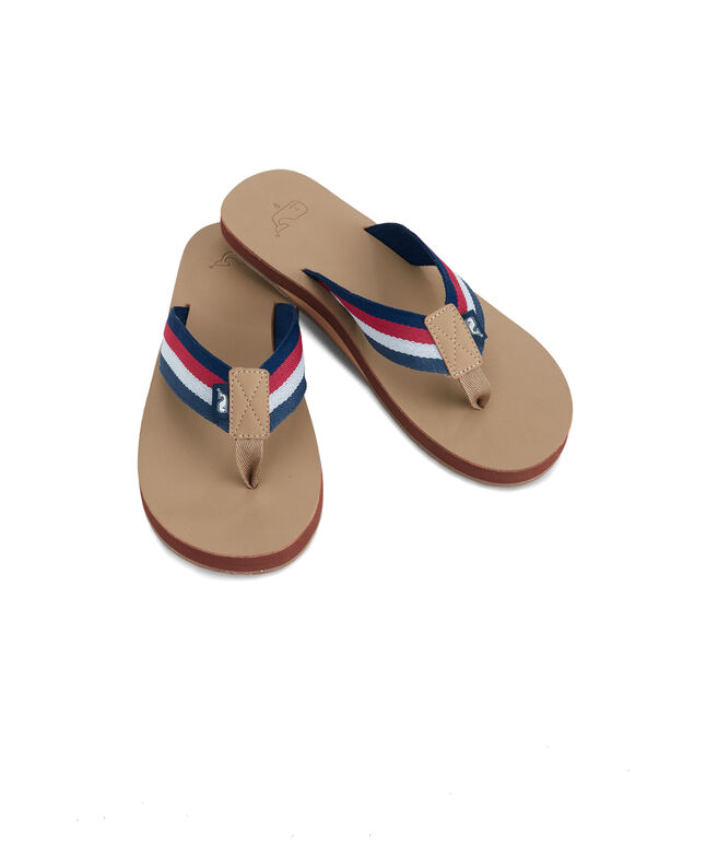 Leather Flip Flops With Ombre Ribbon