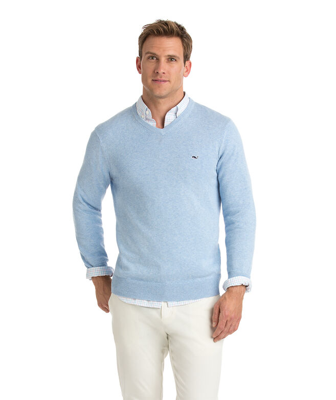 Lightweight Heathered V-Neck