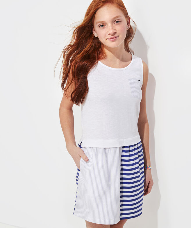 Girls' Mixed Media Tank Dress