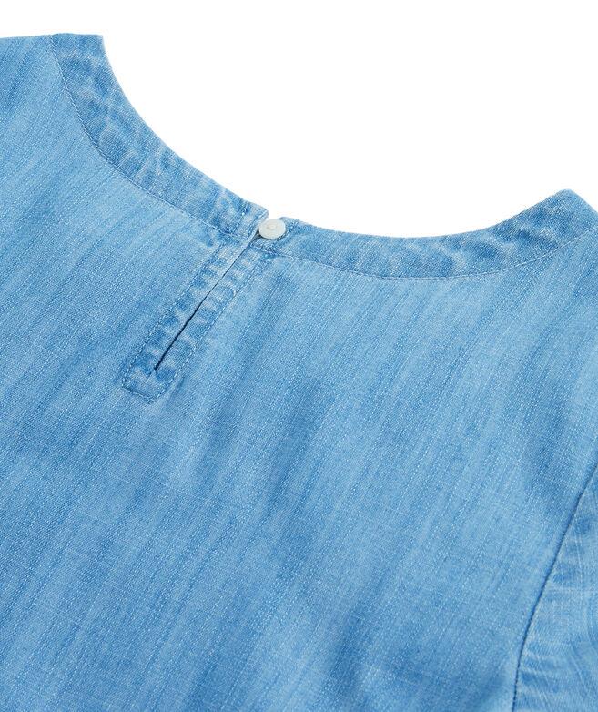 Girls Chambray Fringe Short-Sleeve Top